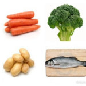 Ձուկը բանջարեղենների հետ պանրի սոուսով